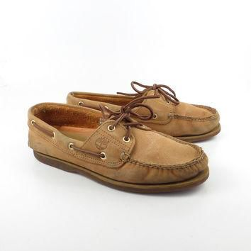 Leather Boat Shoes Vintage 1980s Timberland Brown Lace up Boat Shoes men's size 8 1/2