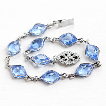 Vintage Stelring Silver Simulated Sapphire Bracelet - 1930s Art Deco Blue Glass Stone Link Filigree Box Clasp Jewelry
