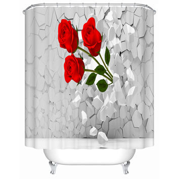Bright Red Roses Shower Curtains Creative Customized Acceptable Eco-Friendly Bathroom Products Waterproof Shower Curtain Fj-106