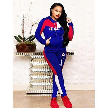 Champion Autumn And Winter Fashion New Embroidery Letter Sports Leisure Hooded Long Sleeve Top And Pants Two Piece Suit Blue