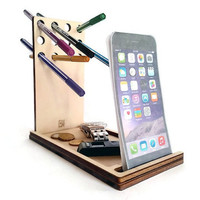 Laser cut wood,cell phone stand,desk caddy,pen and pencil holder,office desk accessories,catchall tray,iPhone dock,geek gifts,cool stuff