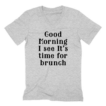 Brunch, brunchtime workout tee, graphic , funny  mimosas graphic  V Neck T Shirt
