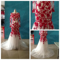 long sleeves red lace ivory tulle mermaid wedding dress//scoop neck sheath wedding gown bridal/mermaid red long sexy prom dress evening gown