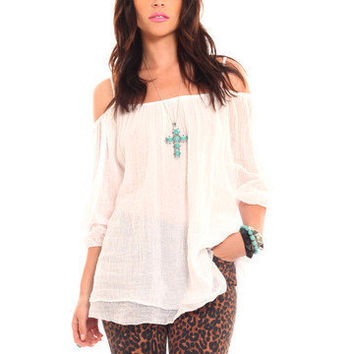 GYPSY WARRIOR - Shoulder Cut Out Blouse