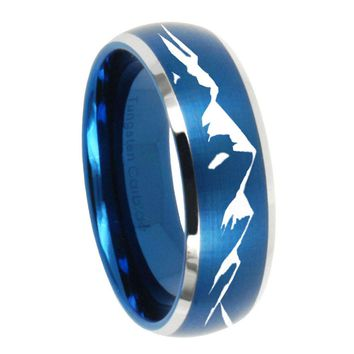 8MM Brush Blue Dome Sound Wave I love you Tungsten Carbide 2 Tone Laser Engraved Ring