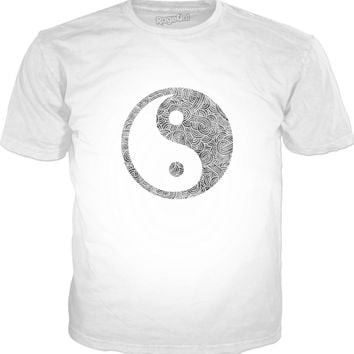 Grey and white swirls doodles Yin Yang Classic T-Shirt White