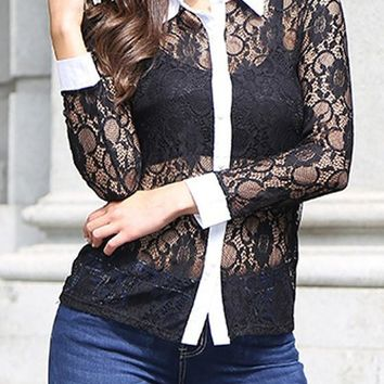 Black Patchwork Lace Buttons Long Sleeve Blouse