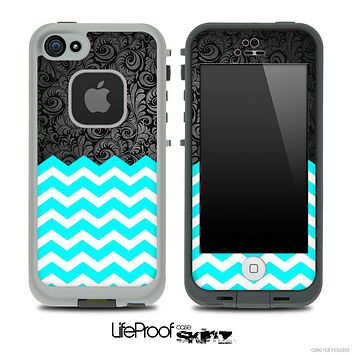 Mixed Black Paisley and Turquoise Chevron Pattern Skin for the iPhone 5 or 4/4s LifeProof Case