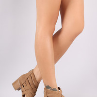 City Classified Suede Strappy Woven Open Toe Chunky Heel