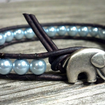 Pearl Leather Wrap Bracelet, Pearl, GOOD LUCK Elephant, Mothers Day, Mothers Day Gift