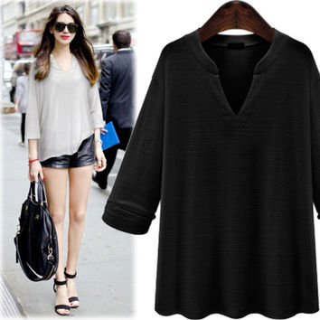 Winter Spring Solid V-neck Long Sleeve Loose Shirts Top Blouse for Women +Free Gift -Random Necklace