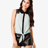 Lace Trim Tie Shirt | FOREVER 21 - 2000046247