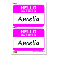 Amelia Hello My Name Is - Sheet of 2 Stickers