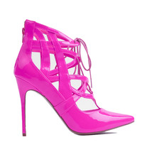 PENNY SUE IBIZA PATENT BOOTIE - HOT PINK