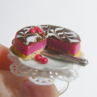 Scented or Unscented Cherry and Chocolate Cheesecake Miniature Food Ring - Miniature Food Jewelry