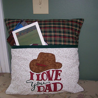 "Dad Pocket Pillow Cover with Embroiderded pocket.  16"" X 16"""
