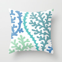 Coral in Blue & Cyan Throw Pillow by House of Jennifer