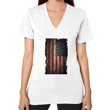 American Flag Ripped Grunge V-Neck (on woman)