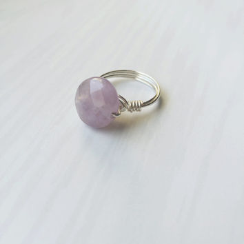 Gemstone Wire Wrapped Ring (The Gia) - Amethyst Ring - Silver Ring - Statment Ring