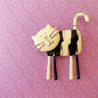 Cat brooch, cat accessories, kitty cat jewelry, best friend birthday gift, unique accessories, animal brooches, cute children brooch