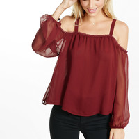 Chiffon Cold Shoulder Blouse