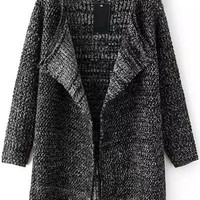 Black Knitted Long Sleeve Cardigan