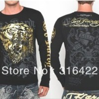 2013 NEW ED HARDY Men's T-Shirts Black 100% Cotton Full Sleeve O-Neck Printing ed Casual Tee Shirt M L XL XXL