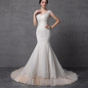 Mermaid Backless Wedding Dresses Pearl Crystal Beaded Lace Cap Sleeve Cathedral Train Sexy