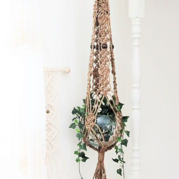 "Jute macrame plant hanger, 45"", hanging planter, pot holder, beaded jute, crown knot, josephine knots, lace pattern, hippie, boho, gift, 70s"