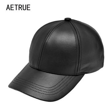 Trendy Winter Jacket Plain New Men Baseball Cap Women Leather Snapback Caps Casquette Brand Adjustable Bone PU Hats For Men Dad Winter Baseball Caps AT_92_12