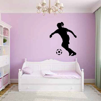 Girl Soccer Player and Ball Vinyl Wall Decal Sticker Graphic