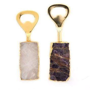 TWO'S COMPANY AMETISTA DO SUL BOTTLE OPENERS AMETHYST/QUARTZ/IRON