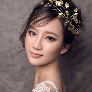 Romantic Gold Metal Leaf Headband Bridal Headband Hair Accessories