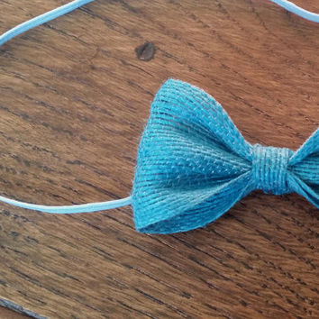 Rustic Burlap Hessian Bow Headband (Blue) – Baby, Children, Adults