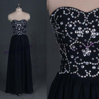 2014 long navy chiffon prom dresses with sequins,chic cheap gowns for holiday party,stunning women dress in handmade hot.