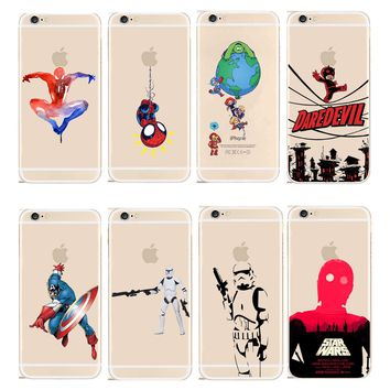 Marvel Hero Captain America Design Case Cover For Apple iPhone 4 4S X 5 5S SE 5C 6 6S 7 8 Plus STAR WARS Transparent PC Shell