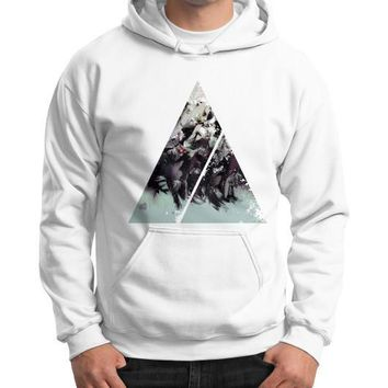 Geometric Conversation Gildan Hoodie (on man)
