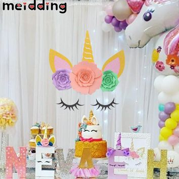 MEIDDING Unicorn Party Unicorn Horn Eyelashes Ear Kids Birthday Party Backdrop Decoration 1st Birthday Baby Shower Supplies