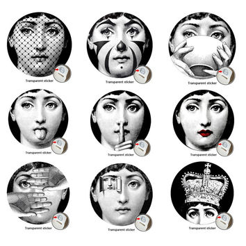 9 Pieces Milan Designer Fornasetti Plates Pattern Fashion Wallpaper Decorative Art DIY Fornasetti Wall Sticker