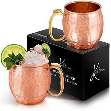 KoolBrew Moscow Mule Copper Mugs Gift Set of 2 Copper Mule Mugs100 Pure Solid Copper Cups with Hammered Finish