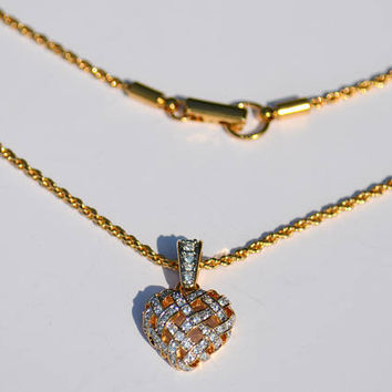 Rare Retired SWAROVSKI Signed Swan Crystal Heart Pendant Necklace Valentines Day Gift