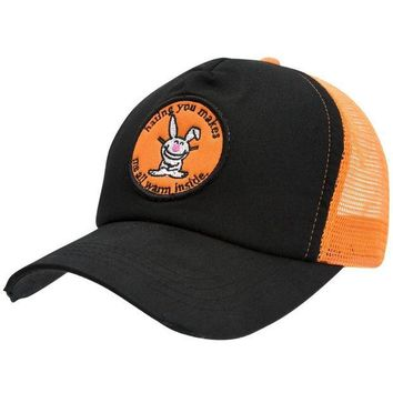 PEAPGQ9 Happy Bunny - Warm Inside Distressed Trucker Cap
