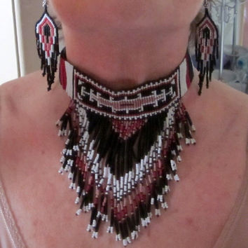 Native American beaded choker matching earrings handcrafted tribal beaded necklace Southwestern jewelry beaded necklace set
