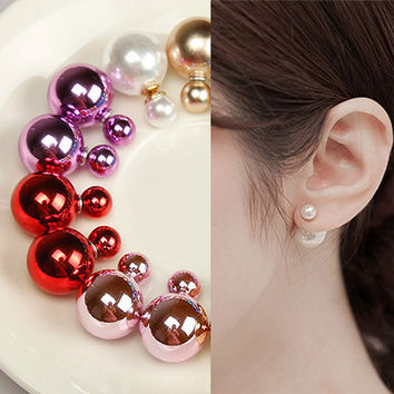 Fashion Lady Elegant Bright Color Pearl Stud Earrings Gift = 4600298180