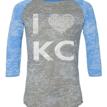 I Heart Kansas City White Alternative Burnout Raglan Baseball Tee