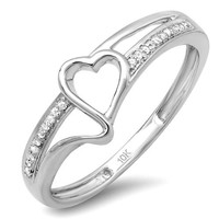 0.10 Carat (ctw) 10k White Gold Round White Diamond Ladies Promise Heart Love Engagement Ring 1/10 CT (Size 7)