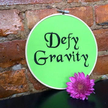 Broadway Musical WICKED: Defy Gravity Embroidery Hoop Wall Decor Gift