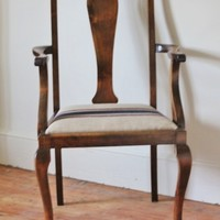 Oak Frame Dining Room Chair with French Grain Sack Seat | The Foodie Bugle Shop