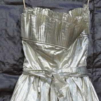 Rare Archive Gold Metallic Evening Gown Victor Costa, Apropos, 1950's Evening Dress, Mid-Century Silver, New Years Evening Gown, Amazing