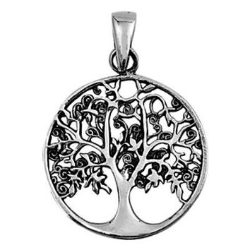 Sterling Silver Summer Leaves Family Tree of Life Infinity pendant (Yggdrasil)